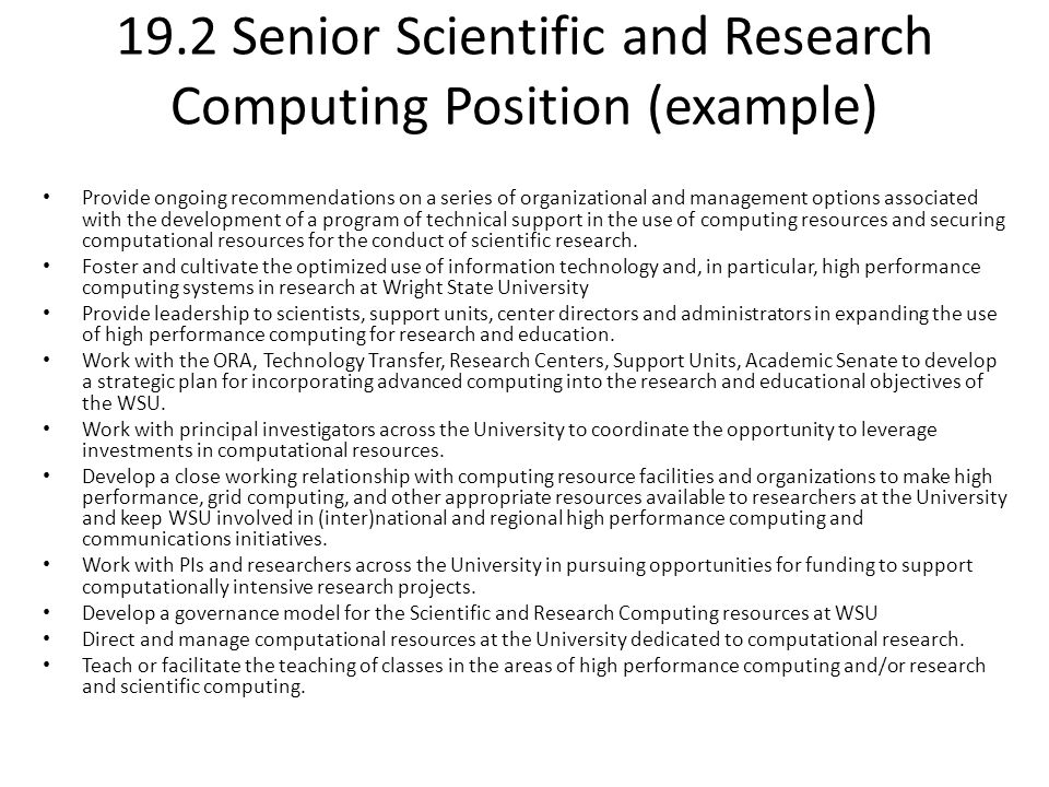 19.2 Senior Scientific and Research Computing Position (example) Provide ongoing recommendations on a series of organizational and management options