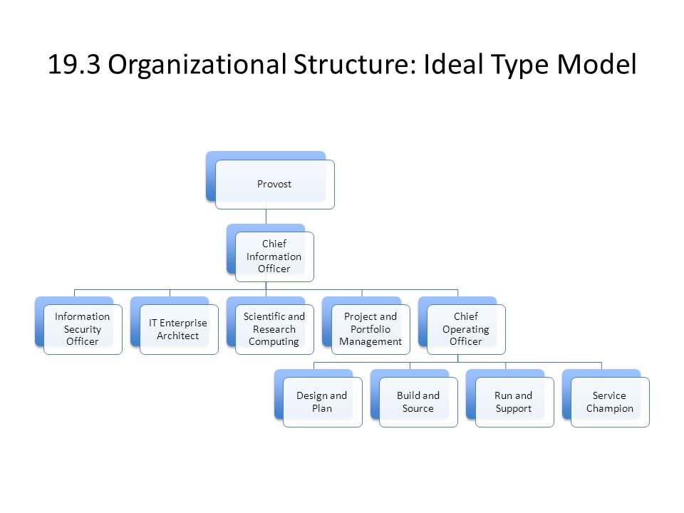 19.3 Organizational Structure: Ideal Type Model Provost Chief Information Officer Information Security Officer IT Enterprise Architect Scientific and