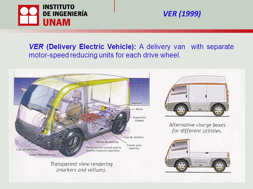VER (Delivery Electric Vehicle): A delivery van with separate motor-speed reducing units for each drive wheel.
