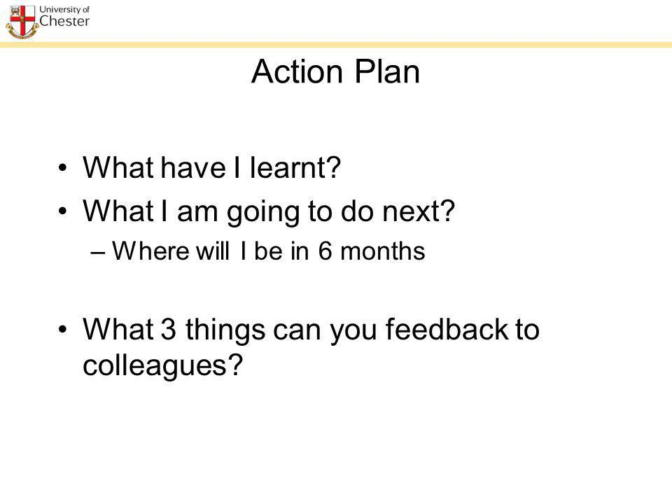 Action Plan What have I learnt? What I am going to do next? –Where will I be in 6 months What 3 things can you feedback to colleagues?