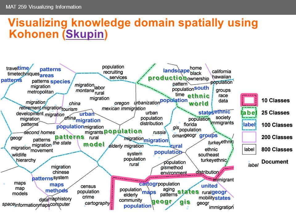 Media Arts and Technology Graduate Program UC Santa Barbara MAT 259 Visualizing Information Visualizing knowledge domain spatially using Kohonen (Skupin)Skupin