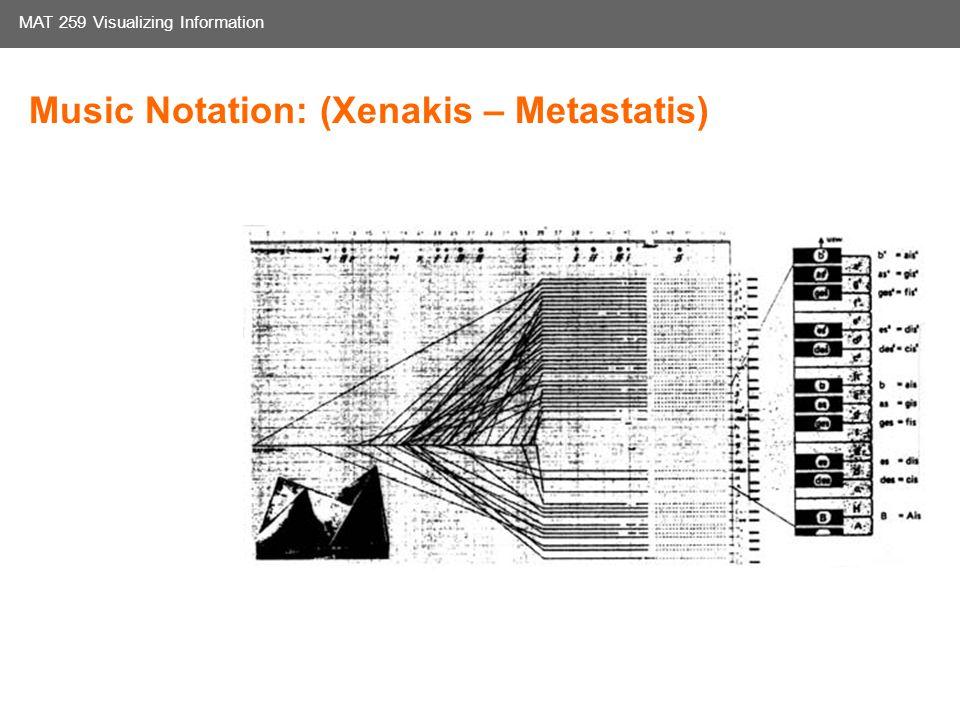 Media Arts and Technology Graduate Program UC Santa Barbara MAT 259 Visualizing Information Music Notation: (Xenakis – Metastatis)