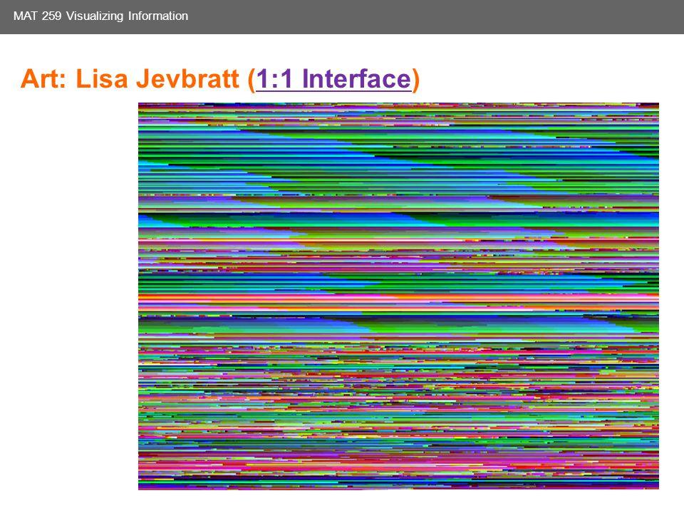 Media Arts and Technology Graduate Program UC Santa Barbara MAT 259 Visualizing Information Art: Lisa Jevbratt (1:1 Interface)1:1 Interface