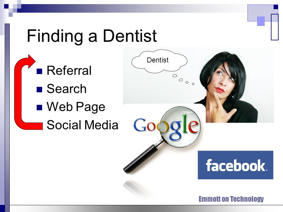 Finding a Dentist Referral Search Web Page Social Media Dentist