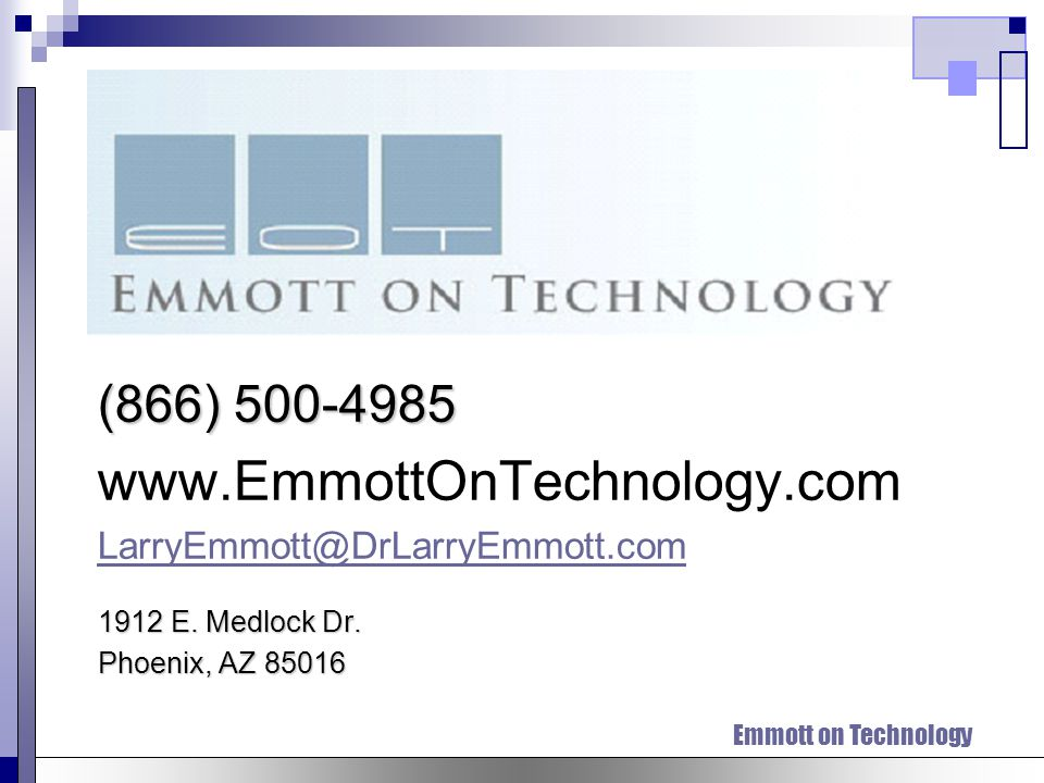 Emmott on Technology Dr.