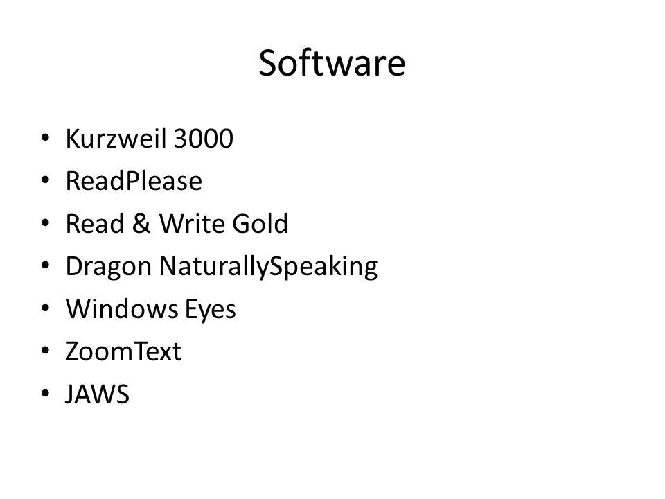 Software Kurzweil 3000 ReadPlease Read & Write Gold Dragon NaturallySpeaking Windows Eyes ZoomText JAWS