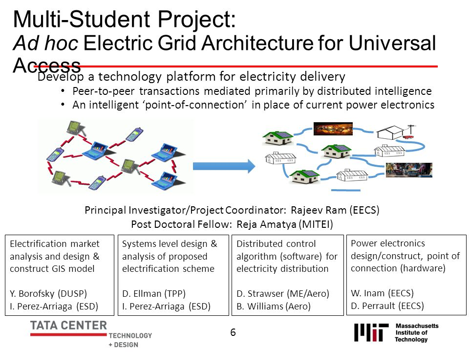 Multi-Student Project: Ad hoc Electric Grid Architecture for Universal Access Develop a technology platform for electricity delivery Peer-to-peer tran