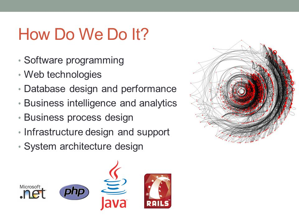 How Do We Do It? Software programming Web technologies Database design and performance Business intelligence and analytics Business process design Inf