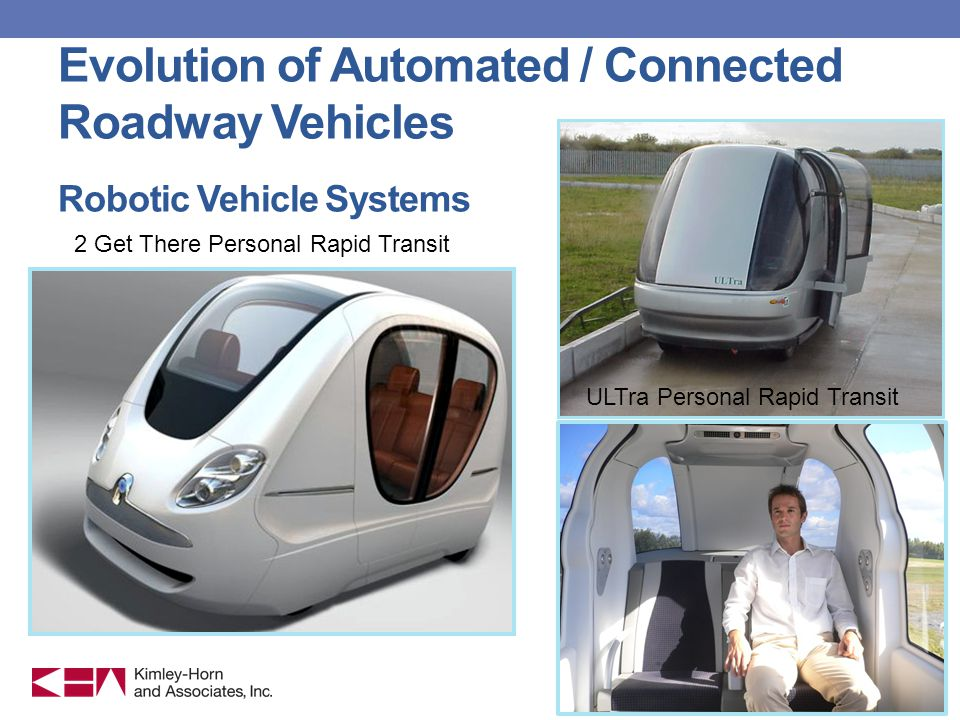 Evolution of Automated / Connected Roadway Vehicles Robotic Vehicle Systems ULTra Personal Rapid Transit 2 Get There Personal Rapid Transit
