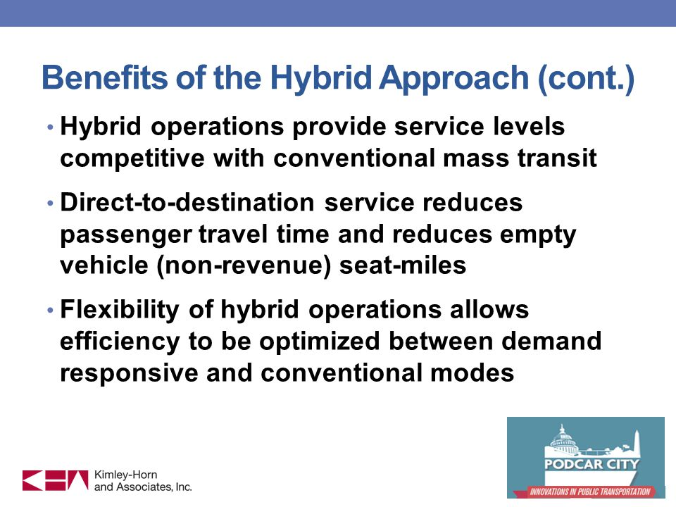 Benefits of the Hybrid Approach (cont.) Hybrid operations provide service levels competitive with conventional mass transit Direct-to-destination service reduces passenger travel time and reduces empty vehicle (non-revenue) seat-miles Flexibility of hybrid operations allows efficiency to be optimized between demand responsive and conventional modes