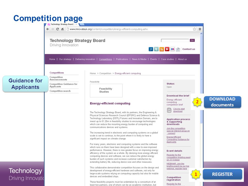 Competition page Guidance for Applicants