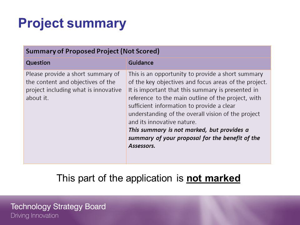 Project summary This part of the application is not marked Summary of Proposed Project (Not Scored) QuestionGuidance Please provide a short summary of the content and objectives of the project including what is innovative about it.