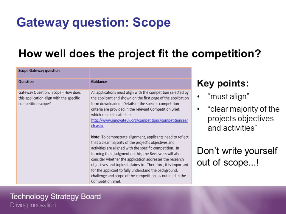 Gateway question: Scope Key points: must align clear majority of the projects objectives and activities Dont write yourself out of scope....