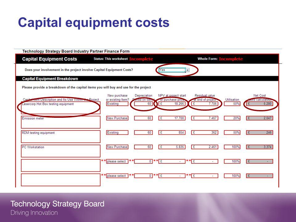 Capital equipment costs