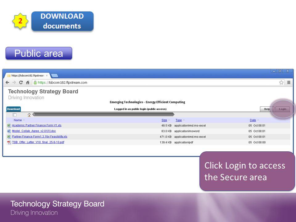 Public area Click Login to access the Secure area