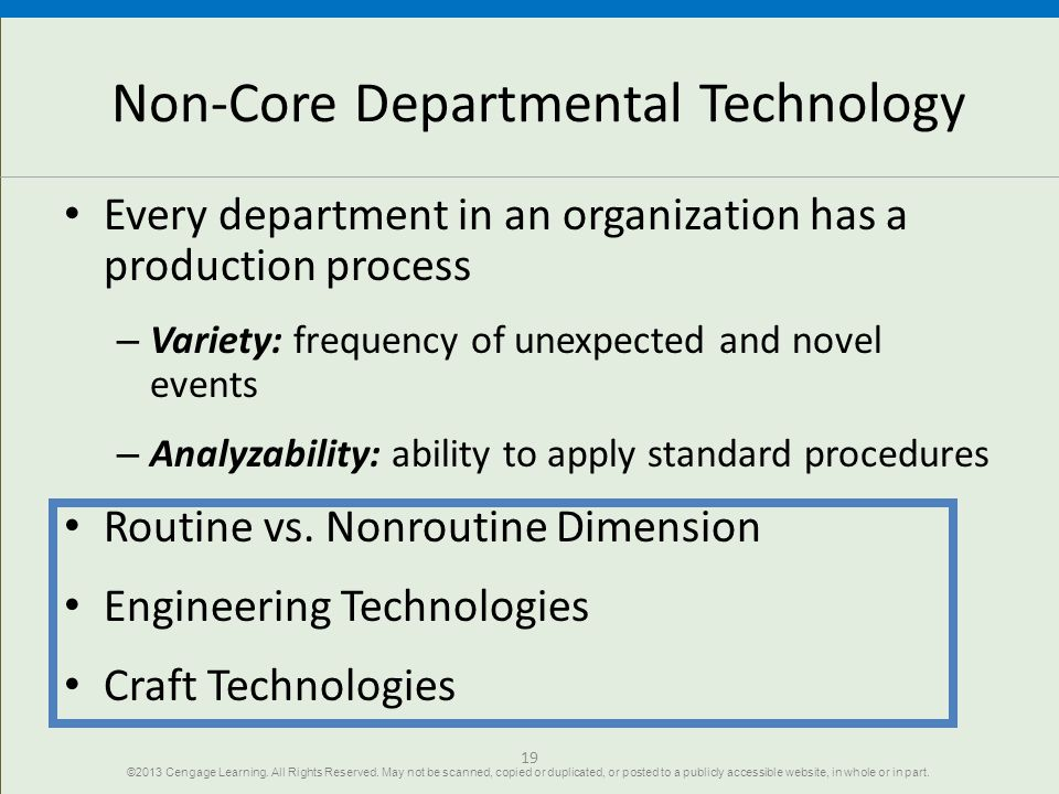 19 Non-Core Departmental Technology Every department in an organization has a production process – Variety: frequency of unexpected and novel events –