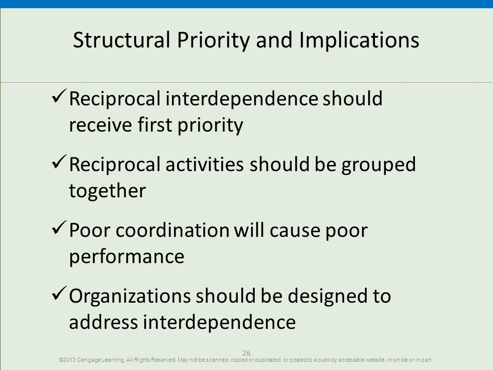 26 Structural Priority and Implications Reciprocal interdependence should receive first priority Reciprocal activities should be grouped together Poor