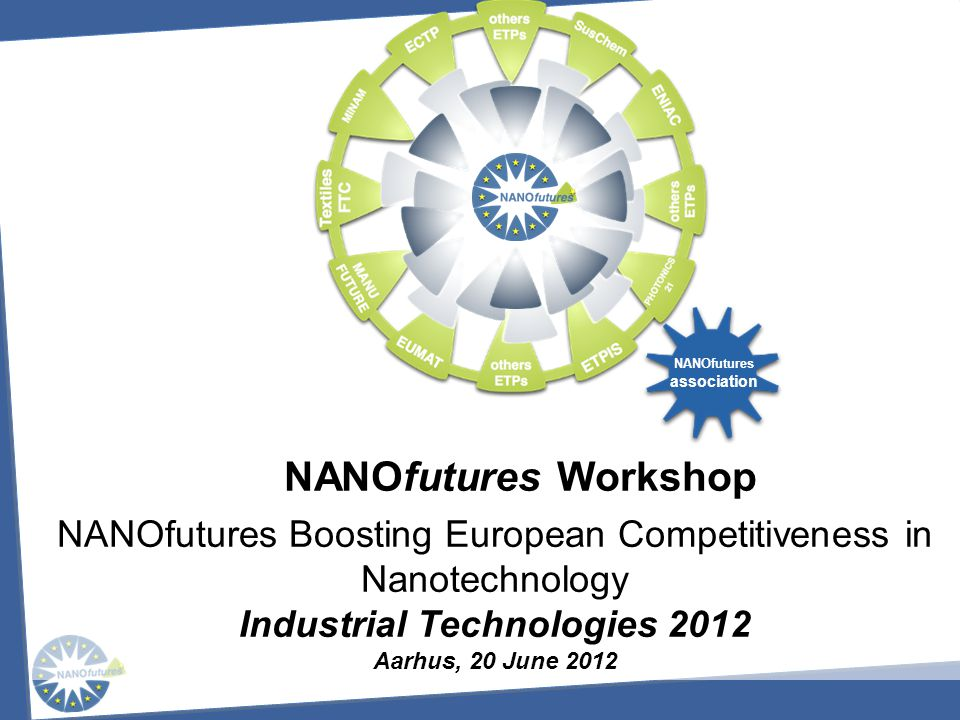 NANOfutures European Technology Innovation Platform Background Vision and Objectives Roadmapping Approach Roadmap Overview Expected Impact Conclusion Applications & Products by Sectors Industrial Technologies 2012 Aarhus, 20 June 2012
