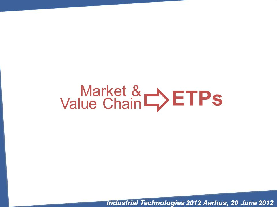 Market & Value Chain ETPs Industrial Technologies 2012 Aarhus, 20 June 2012