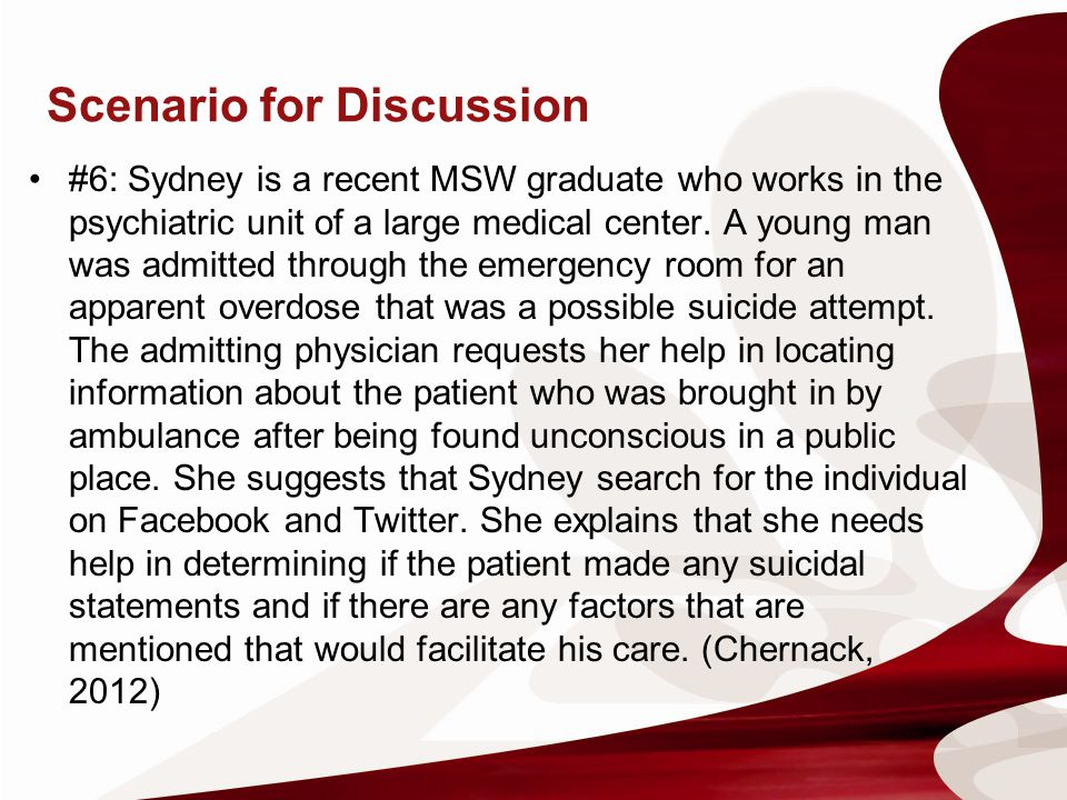 Scenario for Discussion #6: Sydney is a recent MSW graduate who works in the psychiatric unit of a large medical center. A young man was admitted thro