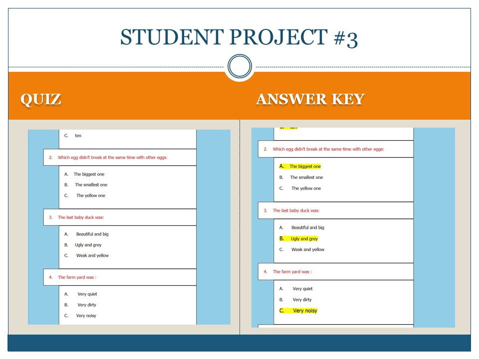 QUIZ ANSWER KEY STUDENT PROJECT #3