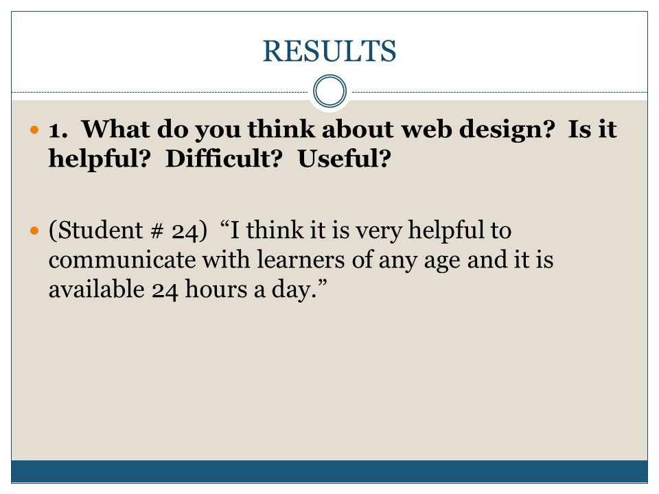 RESULTS 1. What do you think about web design. Is it helpful.