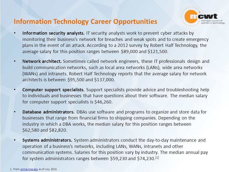 Information Technology Career Opportunities Information security analysts.