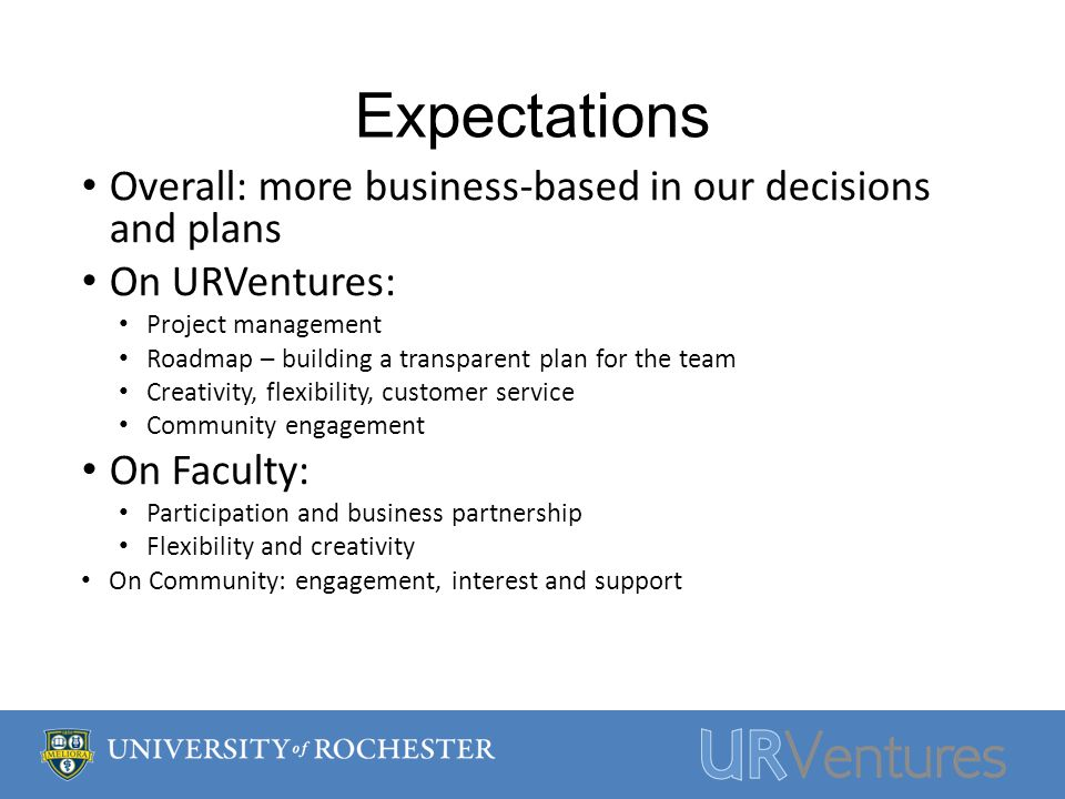 Expectations Overall: more business-based in our decisions and plans On URVentures: Project management Roadmap – building a transparent plan for the team Creativity, flexibility, customer service Community engagement On Faculty: Participation and business partnership Flexibility and creativity On Community: engagement, interest and support