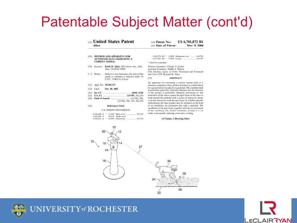 Patentable Subject Matter (cont d)