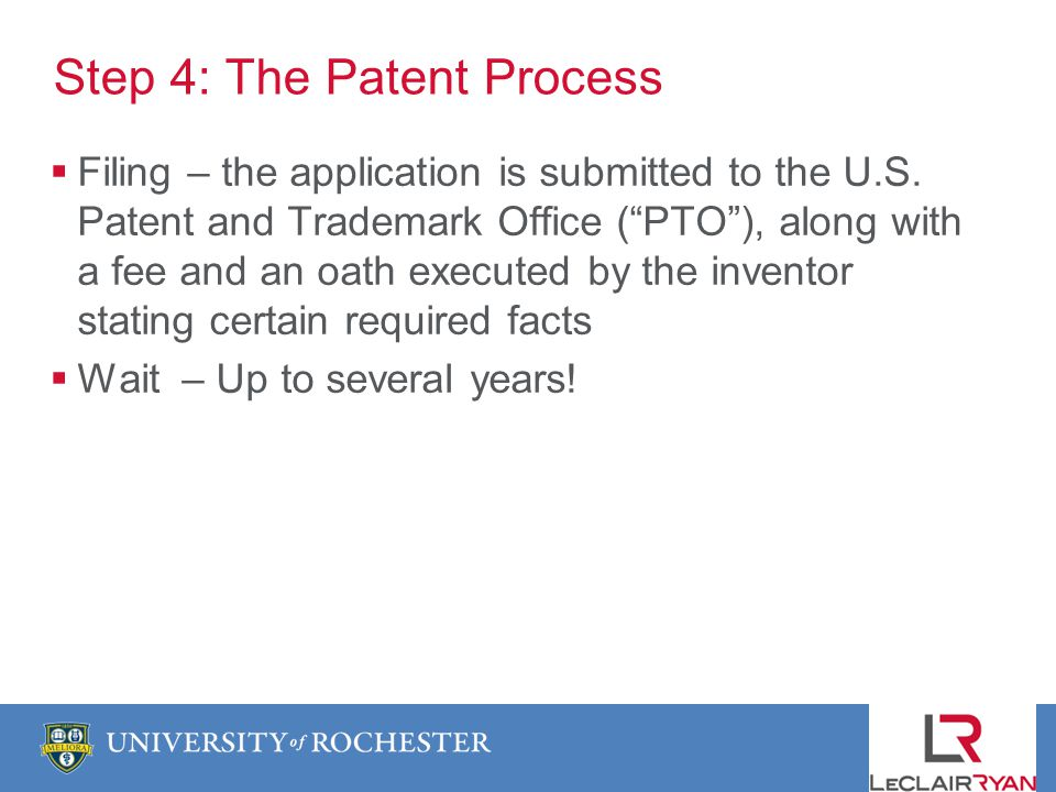 Step 4: The Patent Process Filing – the application is submitted to the U.S.