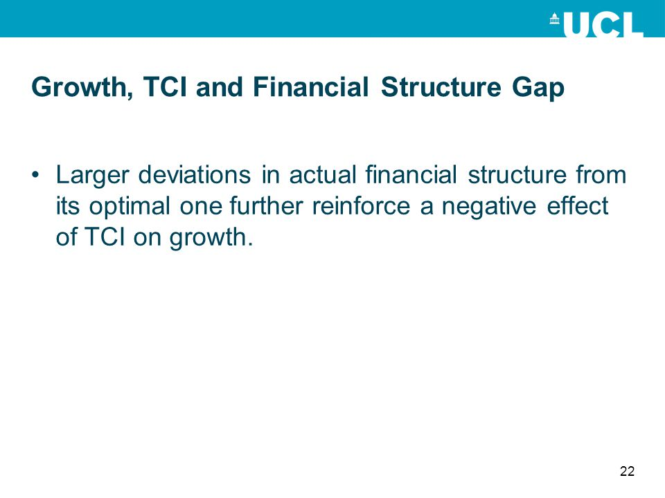 Growth, TCI and Financial Structure Gap Larger deviations in actual financial structure from its optimal one further reinforce a negative effect of TC