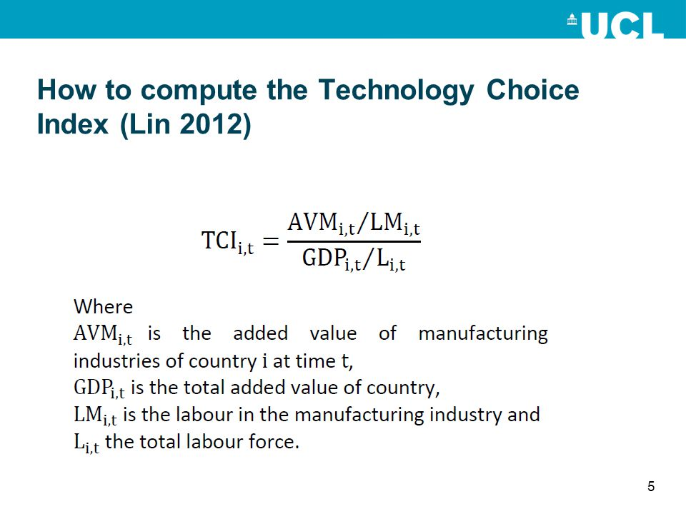 How to compute the Technology Choice Index (Lin 2012) 5