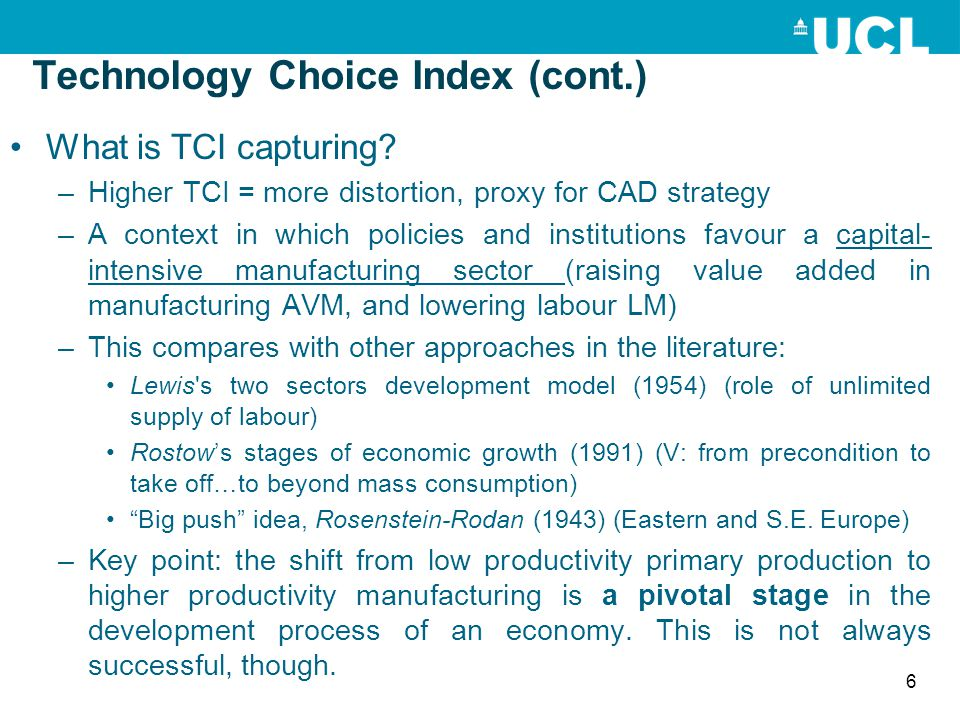 Technology Choice Index (cont.) What is TCI capturing? –Higher TCI = more distortion, proxy for CAD strategy –A context in which policies and institut