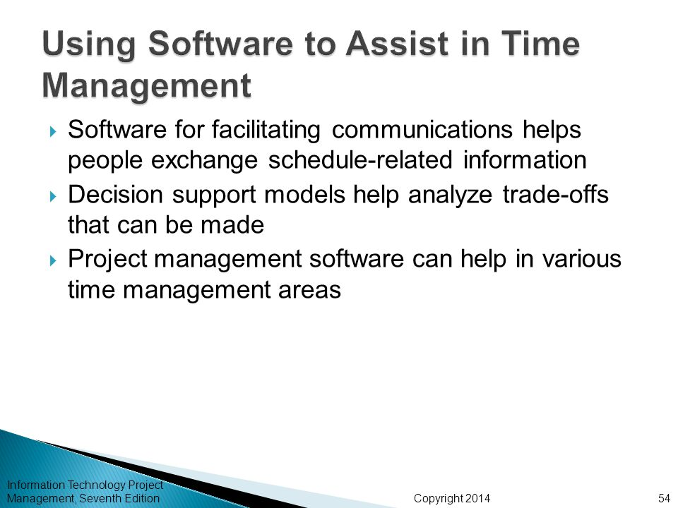 Copyright 2014 Information Technology Project Management, Seventh Edition Software for facilitating communications helps people exchange schedule-rela