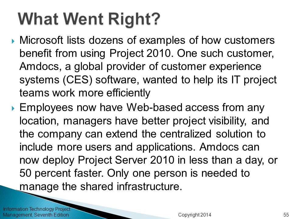Copyright 2014 Information Technology Project Management, Seventh Edition Microsoft lists dozens of examples of how customers benefit from using Proje