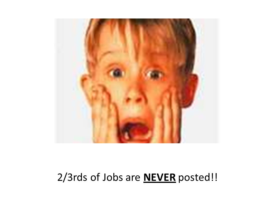 2/3rds of Jobs are NEVER posted!!