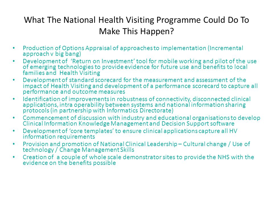 What The National Health Visiting Programme Could Do To Make This Happen.