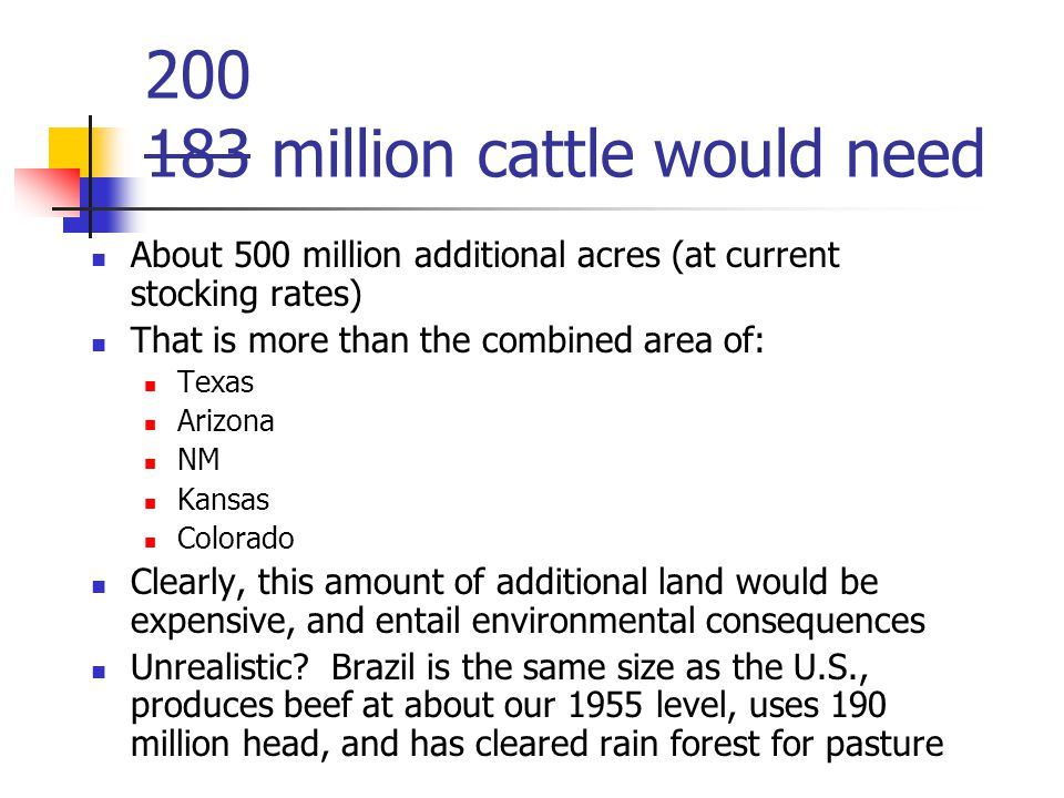 200 183 million cattle would need About 500 million additional acres (at current stocking rates) That is more than the combined area of: Texas Arizona NM Kansas Colorado Clearly, this amount of additional land would be expensive, and entail environmental consequences Unrealistic.