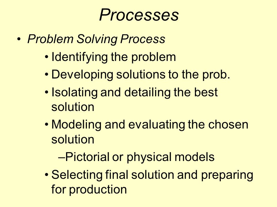 Processes Problem Solving Process Identifying the problem Developing solutions to the prob.