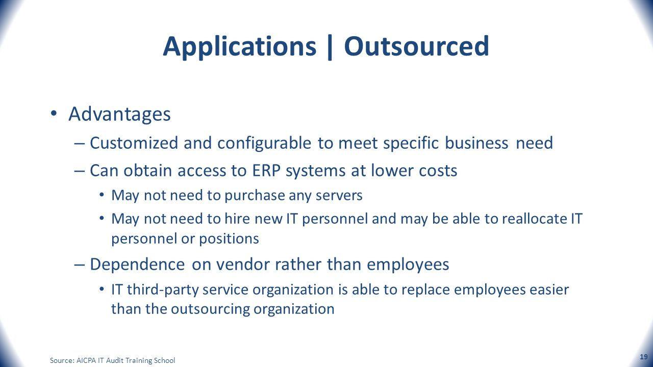 Applications | Outsourced Advantages – Customized and configurable to meet specific business need – Can obtain access to ERP systems at lower costs Ma