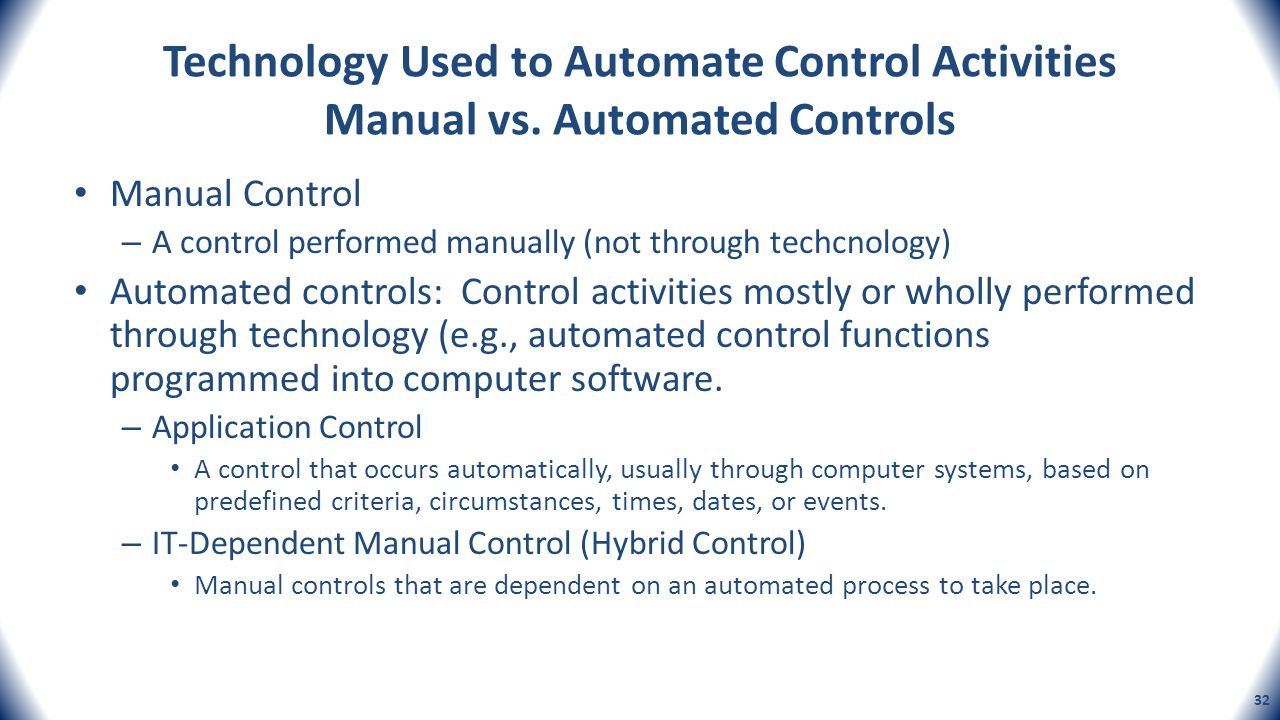 Technology Used to Automate Control Activities Manual vs. Automated Controls Manual Control – A control performed manually (not through techcnology) A