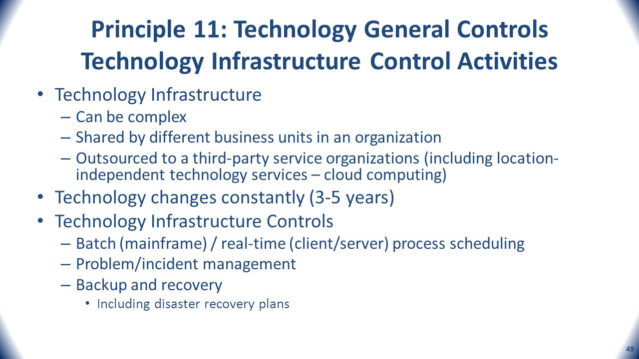 Principle 11: Technology General Controls Technology Infrastructure Control Activities Technology Infrastructure – Can be complex – Shared by differen