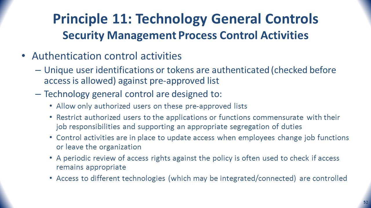Principle 11: Technology General Controls Security Management Process Control Activities Authentication control activities – Unique user identificatio