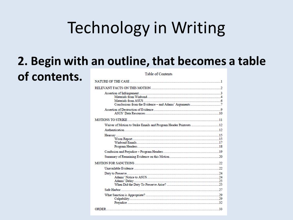 Technology in Writing 3. Create a List of Exhibits