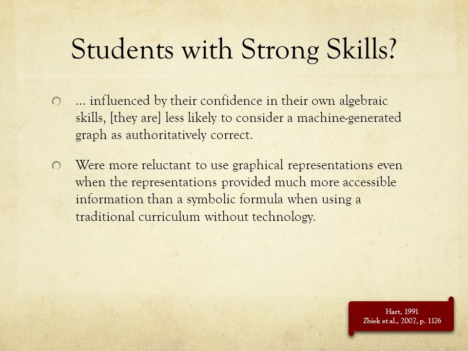 Students with Strong Skills? … influenced by their confidence in their own algebraic skills, [they are] less likely to consider a machine-generated gr