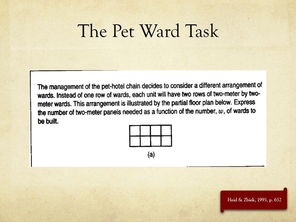 The Pet Ward Task Heid & Zbiek, 1995, p. 652
