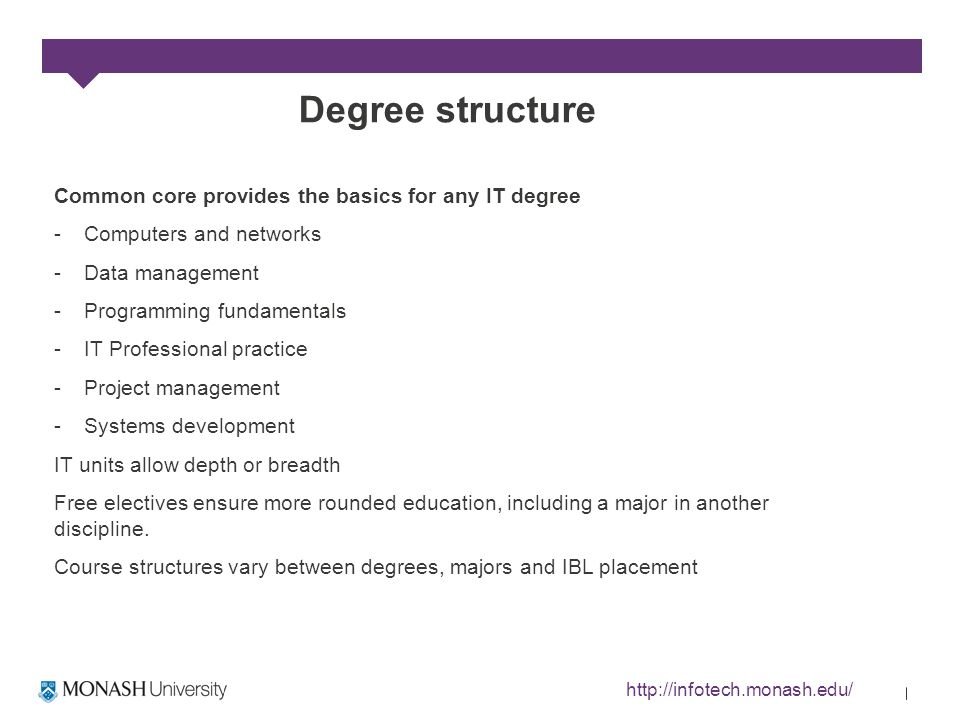 Degree structure Common core provides the basics for any IT degree -Computers and networks -Data management -Programming fundamentals -IT Professional practice -Project management -Systems development IT units allow depth or breadth Free electives ensure more rounded education, including a major in another discipline.