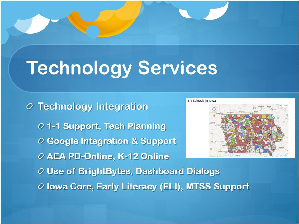 Technology Services IT/Network Services Support for LEA Technology Coordinators Technology Readiness & Network Verification Core IT Services (Internet, Network, Servers) Erate Support Internet & Aggregation
