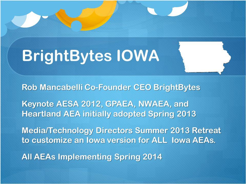 BrightBytes IOWA Rob Mancabelli Co-Founder CEO BrightBytes Keynote AESA 2012, GPAEA, NWAEA, and Heartland AEA initially adopted Spring 2013 Media/Technology Directors Summer 2013 Retreat to customize an Iowa version for ALL Iowa AEAs.