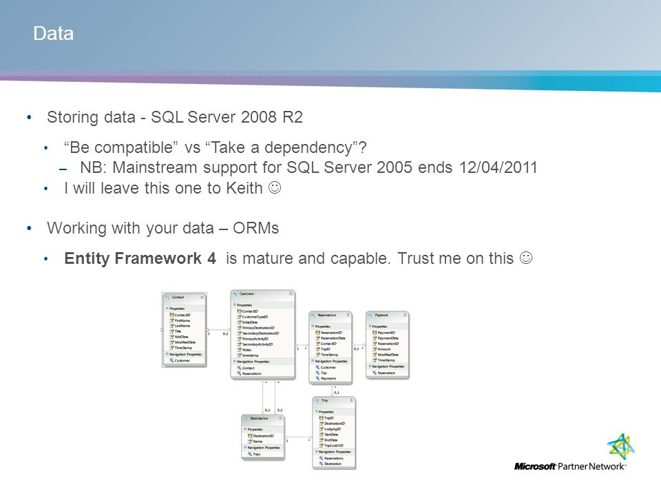 Data Storing data - SQL Server 2008 R2 Be compatible vs Take a dependency.